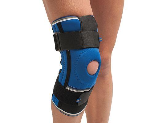 Бандаж на колінний суглоб з спіральними ребрами жорсткості неопреновий Алком 4052 р.3 синьо-чорний