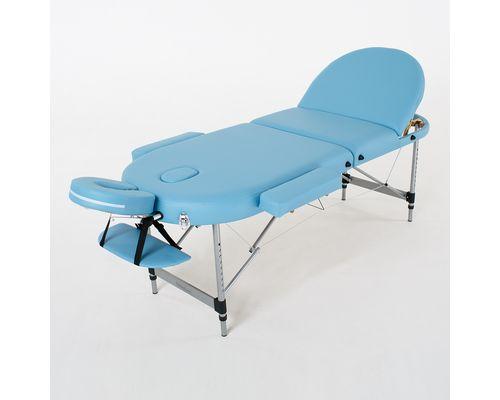 Масажний стіл RelaxLine Oasis, алюмінієва основа, світло-синій
