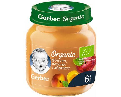 Фруктове пюре Gerber Органічні Яблуко, персик і абрикос з 6 місяців 125г