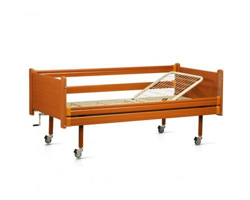 Ліжко медичне функціональне OSD-93 двосекційне з механічним приводом на колесах, з дерев`яними поручнями