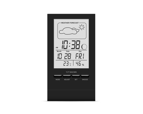 Термогігрометр цифровий з годинником Стеклоприбор Т-14 чорний