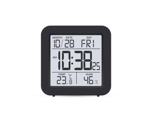 Термогігрометр цифровий з годинником Стеклоприбор Т-15 чорний