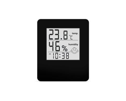 Термогігрометр цифровий з годинником Стеклоприбор Т-17 чорний