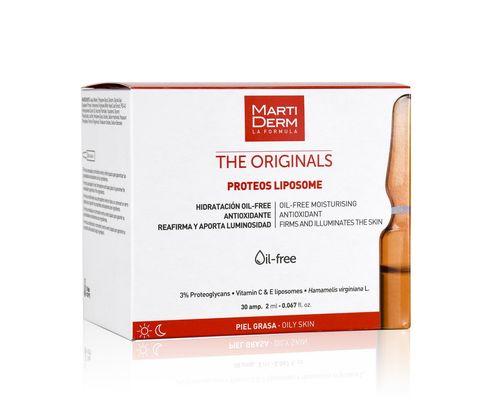 Засіб для обличчя, шиї, зони декольте MartiDerm The Originals Proteos Liposome Ampoles зі зволожуючою, антиоксидантною дією для жирної, комбінованої, чутливої шкіри ампули 2 мл х 30 шт.