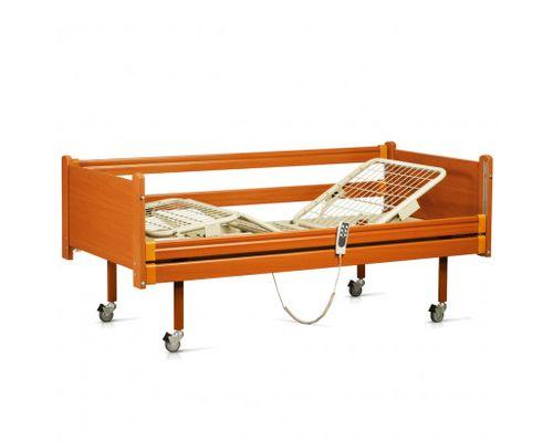 Ліжко медичне функціональне OSD-91Е чотирьохсекційне з електроприводом на колесах, з дерев`яними поручнями