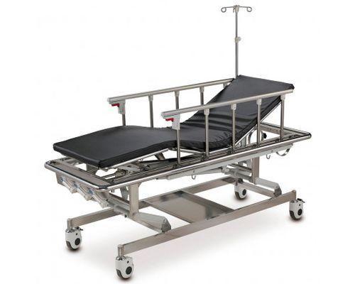 Каталка медична для транспортування пацієнтів OSD-A105B чотирьохсекційна з механічним приводом, штативом для крапельниці, матрасом, з можливість регулювання по висоті
