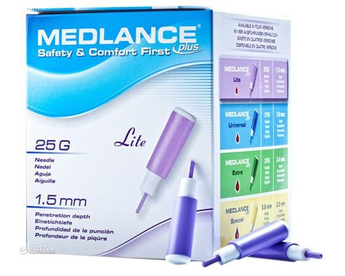 Ланцети автоматичні одноразові стерильні Medlance Plus Lite 25G фіолетові №200
