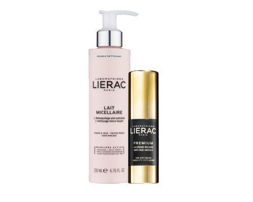 Набір Lierac (Крем Premium для контуру очей комплексної антивікової дії 15 мл + міцелярне молочко для обличчя та контуру очей 200 мл)