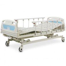 Ліжко медичне реанімаційне OSD-A328P чотирьохсекційна з механічним приводом, штативом для крапельниці, алюмінієвими поручнями, з можливістю регулювання по висоті