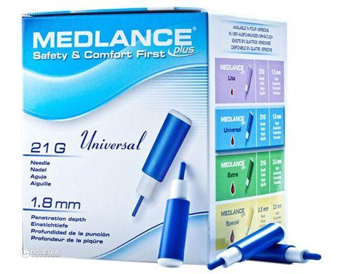 Ланцети автоматичні одноразові стерильні Medlance Plus Universal 21G сині №200