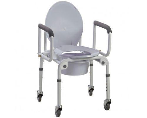 Стілець-туалет на колесиках з відкидними підлокітниками сталевий OSD 2107D