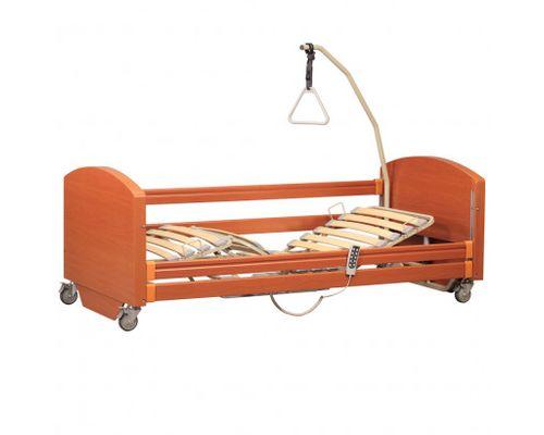 Ліжко медичне функціональне OSD-91EV SOFIA ECONOMY чотирьохсекційне з електроприводом на колесах, дерев`яними поручнями, надлішковою трапецією, з можливістю регулювання по висоті