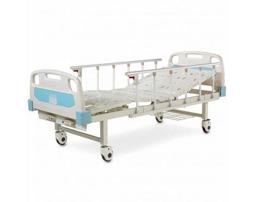 Ліжко медичне реанімаційне OSD-A232P-C чотирьохсекційна з механічним приводом на колесах, алюмінієвими поручнями, штативом для крапельниці