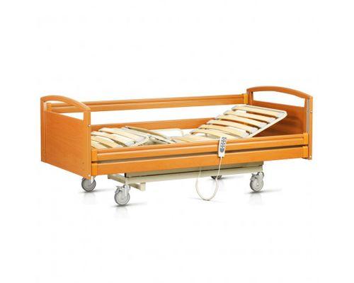 Ліжко медичне функціональне OSD-NATALIE-90CM чотирьохсекційне з електроприводом на колесах, дерев`яними поручнями, надлішковою трапецією, з можливістю регулювання по висоті