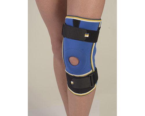 Бандаж на колінний суглоб з ребрами жорсткості та 2 шарнірами неопреновий Алком 4022 р.1 синьо-чорний