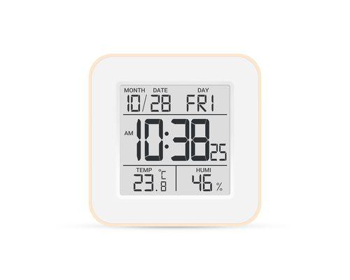 Термогігрометр цифровий з годинником Стеклоприбор Т-19 бежевий