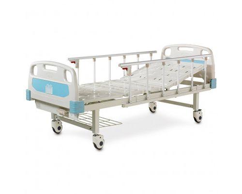 Ліжко медичне реанімаційне OSD-A132P-C двосекційне з механічним приводом на колесах, алюмінієвими поручнями, штативом для крапельниці