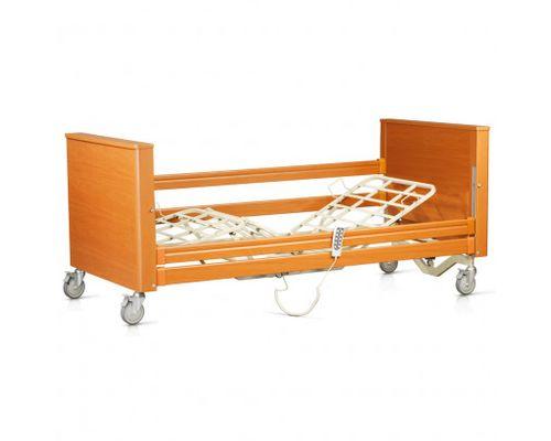 Ліжко медичне функціональне OSD-SOFIA-120 CM чотирьохсекційне з електроприводом на колесах, дерев`яними поручнями, надлішковою трапецією, з можливістю регулювання по висоті