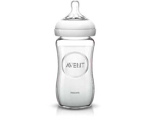 Дитяча пляшечка скляна Avent Natural 1+міс. 240мл (SCF673/17)